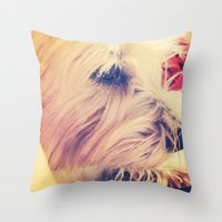 westie Throw Pillows featuring westie love by simple art