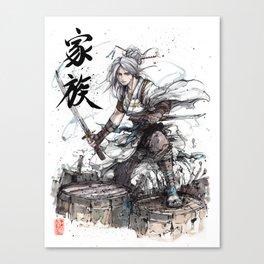 Samurai Girl with Japanese Calligraphy - Family - Ciri Parody Canvas Print