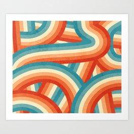 Red, Orange, Blue and Cream 70's Style Rainbow Stripes Art Print