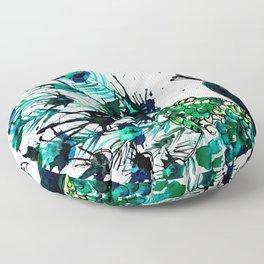 Peacock profile ink splatter Floor Pillow
