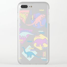 Nineties Dinosaurs Pattern  - Pastel version Clear iPhone Case