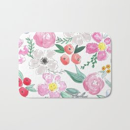 Floral Peony and Rose Watercolor Print  Bath Mat