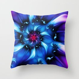 Neon Colors, Abstract Fractal Art Throw Pillow