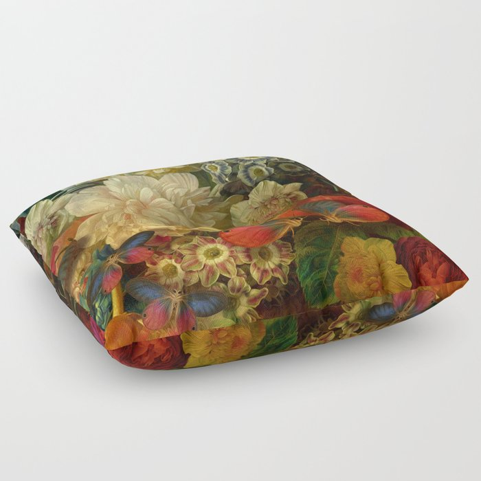 """Baroque Spring of Flowers and Butterflies"" Floor Pillow"