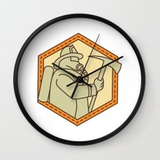 Fireman Holding Fire Axe Shield Mono Line Wall Clock
