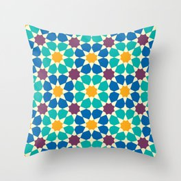 Moroccan pattern, Morocco. Patchwork mosaic with traditional folk geometric ornament Throw Pillow