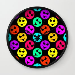 Smiley Bikini Bright Neon Smiles on Black Wall Clock