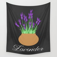 lavender Wall Tapestries featuring Lavender by Little Lost Garden