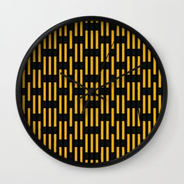 Black & yellow stripes abstract graphic Wall Clock