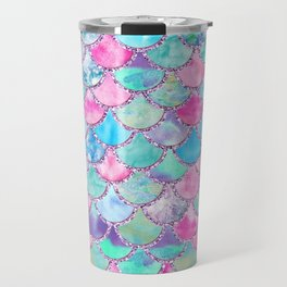 Colorful Pink and Blue Watercolor Trendy Glitter Mermaid Scales  Travel Mug