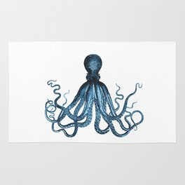 Octopus coastal ocean blue watercolor Rug