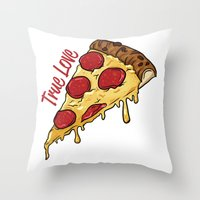 pizza Throw Pillows featuring Pizza by jeff'walker