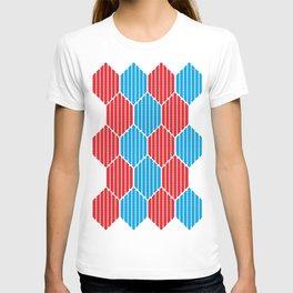 Blue red lozenges T-shirt