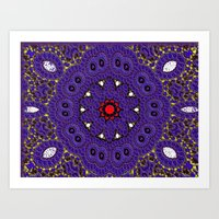 Lovely Healing Mandalas in Brilliant Colors: Purple, Brown, Yellow, Red and White Art Print