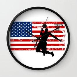 USA American Flag Basketball Basketball Player Gift Wall Clock