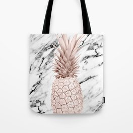 Rose Gold Pineapple on Black and White Marble Tote Bag