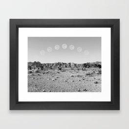 Desert Moon Ridge B&W // Summer Lunar Landscape Teal Sky Red Rock Canyon Rock Climbing Photography Framed Art Print