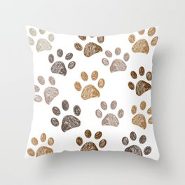 Brown colored paw print background Throw Pillow