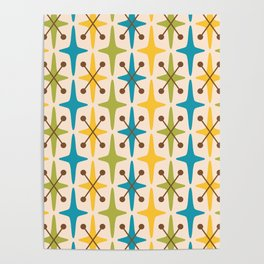 Mid Century Modern Abstract Star Pattern 441 Yellow Brown Turquoise Chartreuse Poster