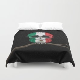 Baby Owl with Glasses and Mexican Flag Duvet Cover