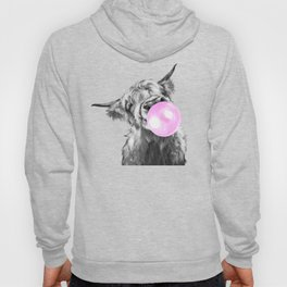 Bubble Gum Highland Cow Black and White Hoody