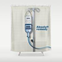 vodka Shower Curtains featuring Vodka remedy by Tony Vazquez