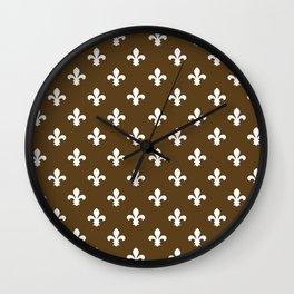 Pecan Southern Cottage Fleur de Lys Wall Clock