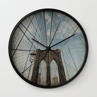 brooklyn bridge Wall Clocks featuring Brooklyn Bridge by Jean-Pierre Ducondi