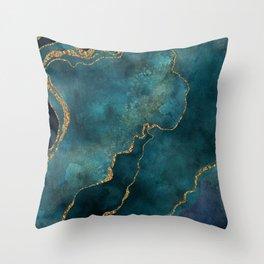 Golden Gemstone Glamour Mineral Throw Pillow