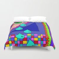 blankets Duvet Covers featuring Abstract 34 by Linda Tomei