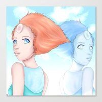 hologram Canvas Prints featuring Pearl and Hologram (Steven Universe) by artsycuno