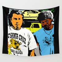 pulp Wall Tapestries featuring Pulp Fiction  |  Vince & Jules by Silvio Ledbetter