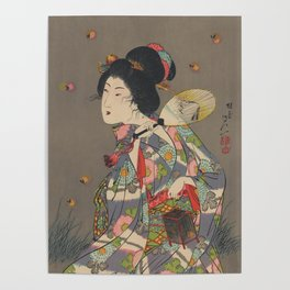 Japanese Art Print - Woman and Fireflies Poster