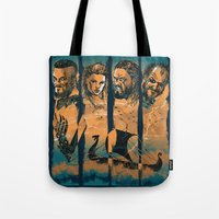 vikings Tote Bags featuring Vikings by RicoMambo