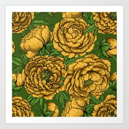 Yellow peony bouquet Art Print