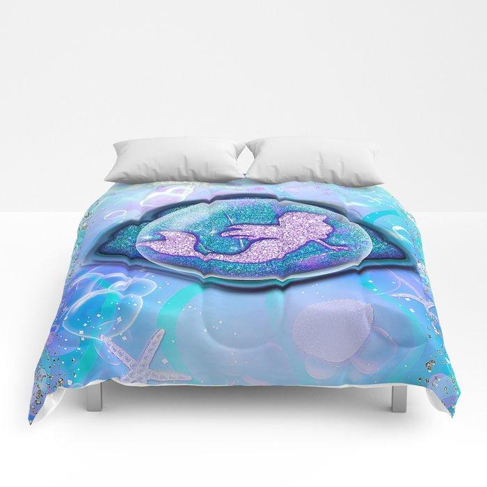 Purple Sparkle Glitter Mermaid Comforters