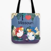 coraline Tote Bags featuring Ernest and Coraline   I love Missouri by Hisame Artwork