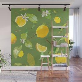 Watercolor Lemon & Leaves 6 Wall Mural