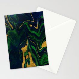 Rhapsody in Blue and Green and Gold Stationery Cards