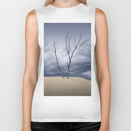 Wind Swept Clouds over the Dunes Biker Tank