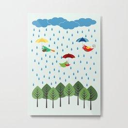 Birds in the rain. Metal Print