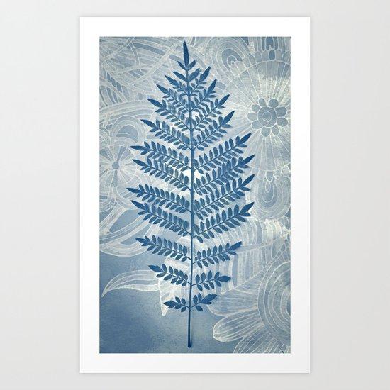 Jacaranda Leaf in Blue, Cream, Grey Art Print