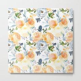 Blush gray orange watercolor hand painted floral Metal Print