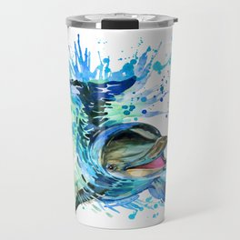 Watercolor Dolphin Travel Mug