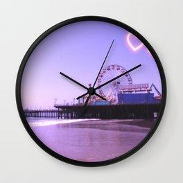 Santa Monica Pier Purple Hearts Wall Clock