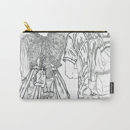 Geometric Japanese Black and White Linework Love couple Carry-All Pouch