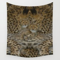 cheetah Wall Tapestries featuring Cheetah Pair by CrismanArt