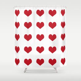 Hearts pattern red and white minimal modern essential valentines day gifts for anyone love Shower Curtain