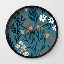 HAND PAINTED AUTUMN / SPRING FLORAL BOUQUETS Wall Clock
