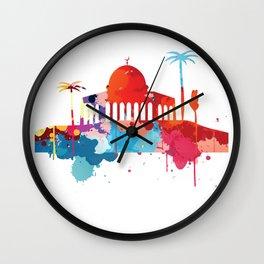 Jerusalem Cityscape Watercolor Wall Clock